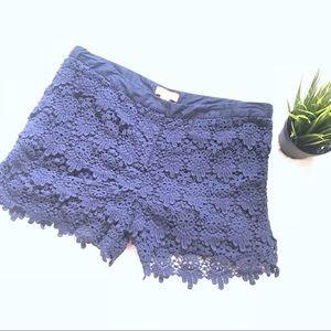 Joe Fresh Navy blue lace crochet shorts